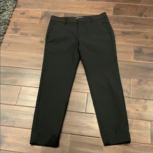 Zara women black slacks/Pants Sz m ankle basic